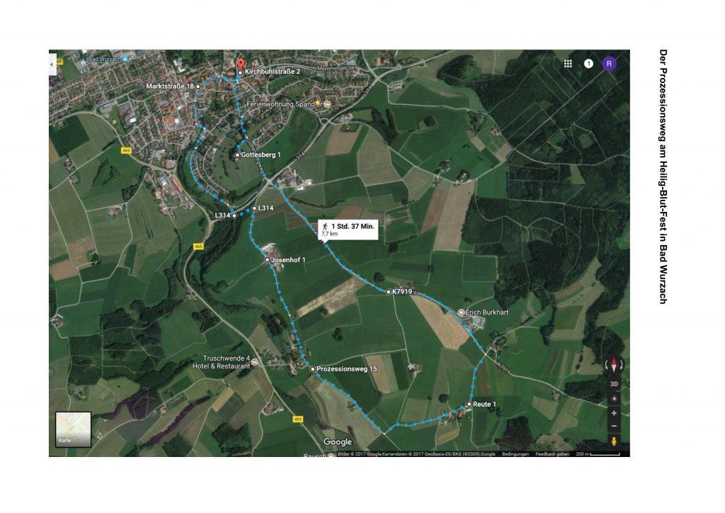 Der Prozessionsweg am Heilig-Blut-Fest in Bad Wurzach